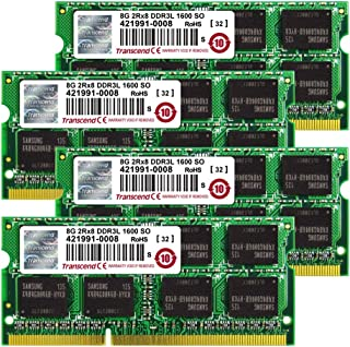 Transcend TS32GJMA584H JetMemory - Kit de Memoria RAM de 32 GB para Apple iMac 27 (204 Pin SO-DIMM, DDR3 SDRAM, 1600 MHz, 4 x 8 GB)