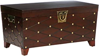 Southern Enterprises Nailhead Cocktail Table Storage Trunk, Espresso Finish