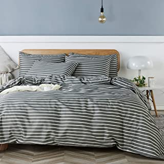 JELLYMONI 100% Natural Cotton 3pcs Striped Duvet Cover Sets, Dark Grey Duvet Cover with White Stripes Pattern Printed Comf...