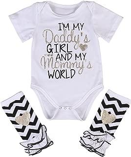 3 Styles Newborn Baby Girl I'm Daddy Girl Letter Print Bodysuit+Leg Warmer Outfits Set