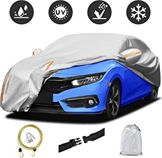 AUTOSAVER88 Car Cover Waterproof All Weather Full Exterior Covers,Sun UV Rain Protection Cotton Scratch Resistant Universa...