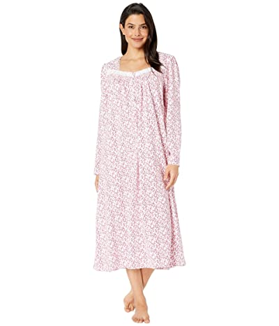 Eileen West Cotton Peached Jersey Knit Long Sleeve Ballet Nightgown (White Ground/Floral Scroll) Women