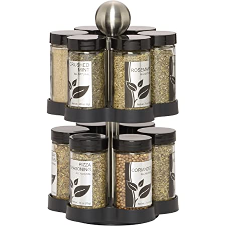 Kamenstein Madison 12-Jar Revolving Countertop Spice Rack Organizer with Free Spice Refills for 5 Years, Black