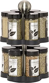Kamenstein 5108304 Madison 12-Jar Revolving Countertop Spice Rack Organizer with Free Spice Refills for 5 Years