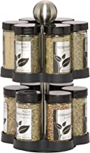 Kamenstein 5108304 Madison 12-Jar Revolving Countertop Spice Rack Organizer with Free Spice Refills for 5 Years, Black