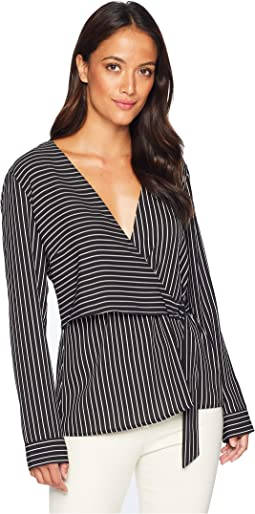 Long Sleeve Legacy Stripe D-Ring Wrap Front Blouse