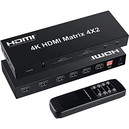 FERRISA 4K HDMI マトリックス セレクター 4入力2出力 音声分離器(光デジタル・オーディオ分離)HDMI スイッチャー スプリッター EDID 4K x 2K 3D 1080P対応 手動切り替え リモコン付き PS5 PS3/4 Fire TV Apple TV DVD Blu-ray Player用