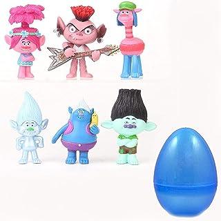 مجموعة من 6 شخصيات ترول من كولينكو مع بيضة كبيرة- العاب عمل صغيرة للاطفال كعك كب كيك اغطية تزيين الحفلات