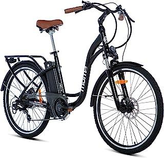 Moma Bikes E- Bike 26.2 Bicicleta Electrica de Paseo, 7 velocidades, Adultos, Unisex, Negro brillante