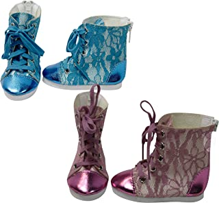 Ari and Friends Blue   Pink Metallic Lace Sneaker Boots Fits American Girl 18 inch Doll  Bundle