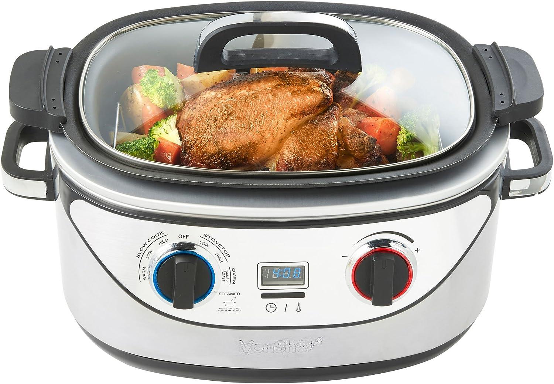 VonShef Slow Cooker 5-Quart Stainless Steel - Cook, Simmer, Sear, Roast, Bake, Steam & Warm
