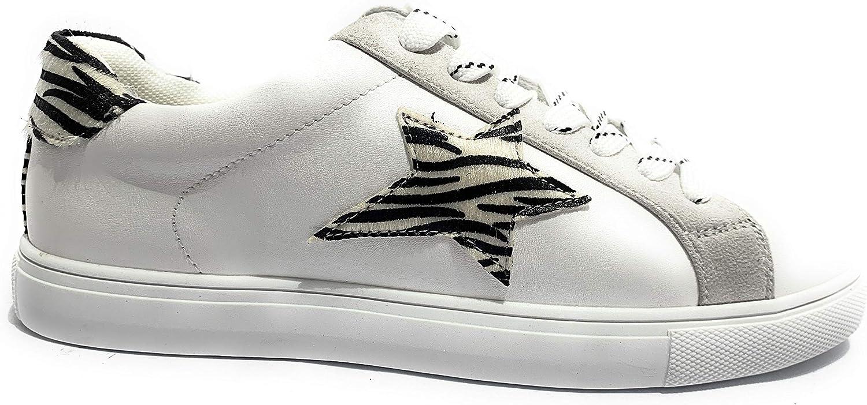 Schuhe für Damen Turnschuhe Gold&Gold Kunstleder wei ZEBRATO DS19GG22