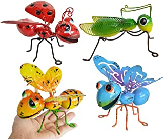 Best GIFTME 5 Metal Garden Yard Art Hanging Decoration Set of 4 Include Yellow Bee Blue Butterflies Red Ladybug and Green Mantis Perfect The Tree, Porch,Patio or Garden Hanging Wall Sculpture Review