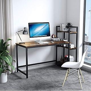 Dripex Table Bureau d'Ordinateur avec 3 Étagères de Rangement, Bureau Industriel et Poste de Travail en Bois et Métal 126 ...