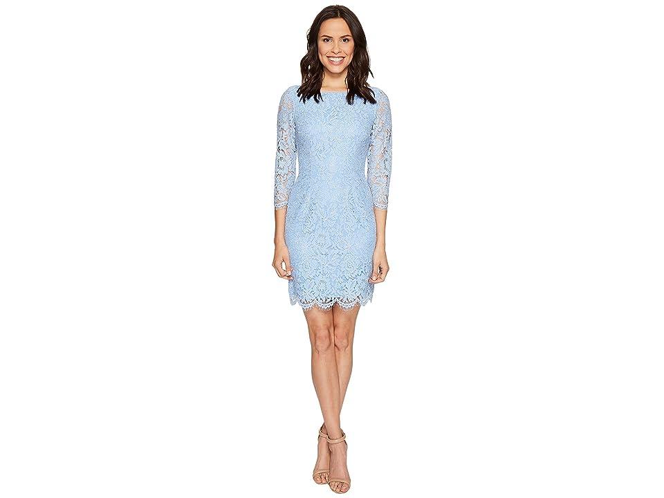 Adrianna Papell Long Sleeve Metallic Lace Sheath Dress (Echo Blue) Women