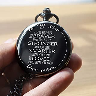 "Memory gift – A special gift from mother to son, engraved pocket watch with inspirational message to son ""To my son, Always remember you are Braver than you believe, Stronger than you seem, and Smater"