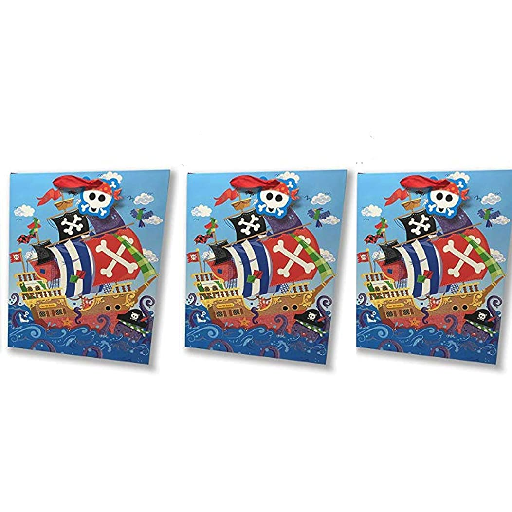 Pirate Gift Bags - Set of 3 Premium Quality Gift Bag Sets Glitter Detail Inside Print Plus Gift Tag (Pirate & Ship Skulls Gift Bag Set, 3 Jumbo)