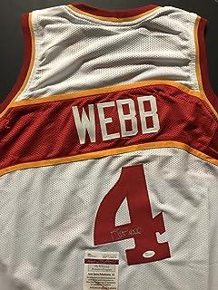 Autographed/Signed Spud Webb Atlanta White Basketball Jersey JSA COA