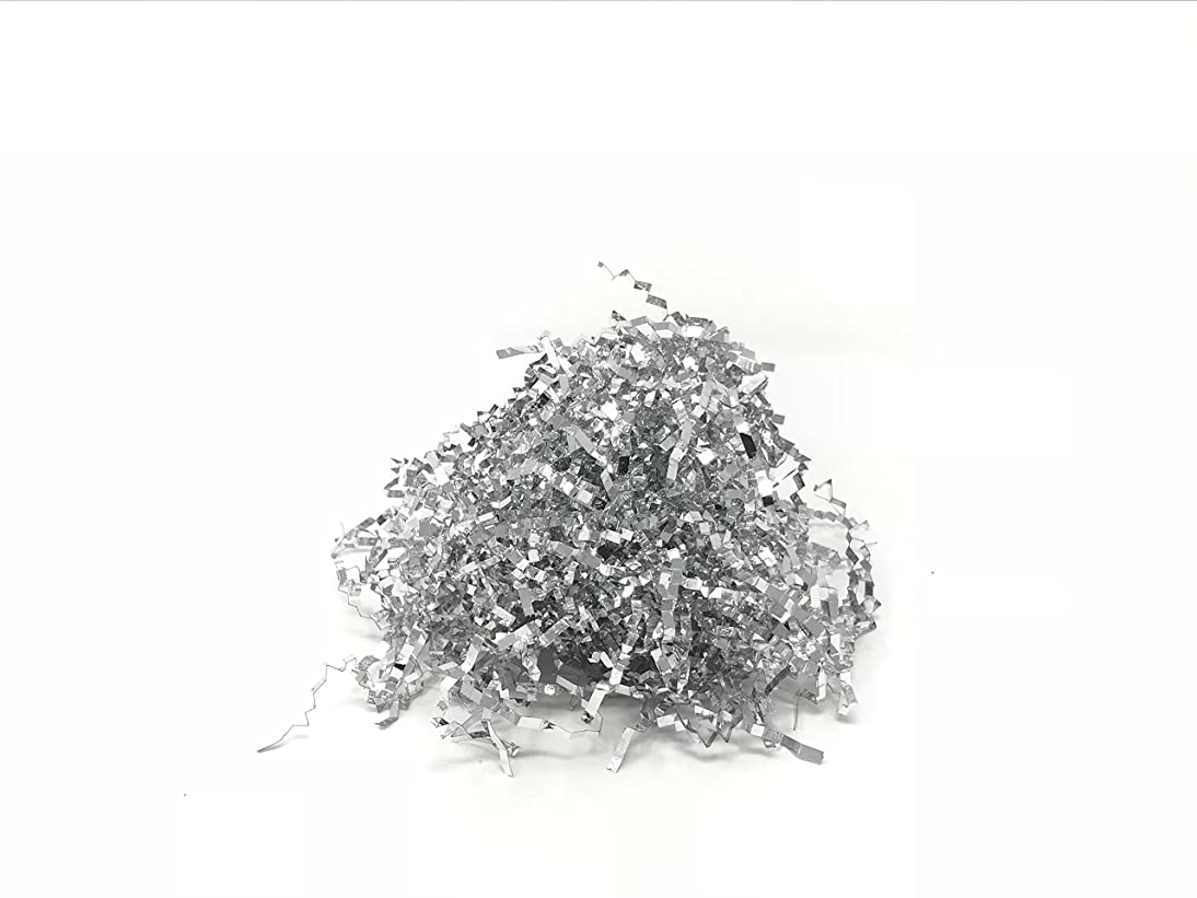 Metallic Crinkle Cut Foil Paper Shred (Silver, 2 Ounces)