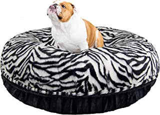 product image for Bessie and Barnie Signature Zebra / Black Puma Extra Plush Faux Fur Bagel Pet / Dog Bed (Multiple Sizes)