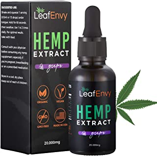 Premium Flavored Hemp Oil Extract - Quality Hemp Oil to Deliver Relief - Helps Relieve Pain & Stress, Enhances Sleep, Alleviates Anxiety - Hemp Oil, Grape