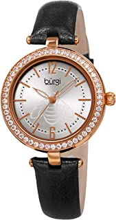 Burgi Womens Quartz Watch, Analog Display and Leather Strap BUR235BKR