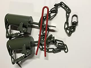(2 Traps + Setter Tool) FPS DP Dog Proof Coon Traps Powder Coated Raccoon, Skunk, Possum Trapping