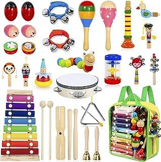 AILUKI 27 stycken musikinstrument musikinstrument set, trä slagverk set trummor trummor rytm leksaker musik barnleksaker f...