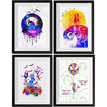 Uhomate 4 pcs Set Jack Sally Nightmare Before Christmas Abstract Art Home Canvas Wall Art Inspirational Quotes Wall Decor for Living Room for Bedroom M032 (8X10)