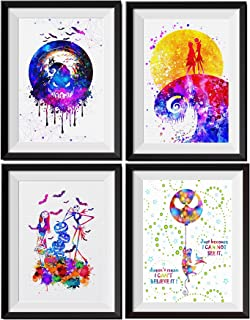 Uhomate 4 pcs Set Jack Sally Nightmare Before Christmas Abstract Art Home Canvas Wall Art Anniversary Gifts Baby Gift Inspirational Quotes Wall Decor for Living Room for Bedroom M032 (8X10)