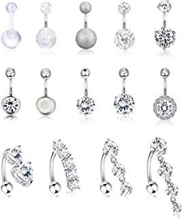 14Pcs Stainless Steel Belly Button Rings for Women Girls Reverse Navel Rings Curved Barbell CZ Body Piercing Jewelry 14G