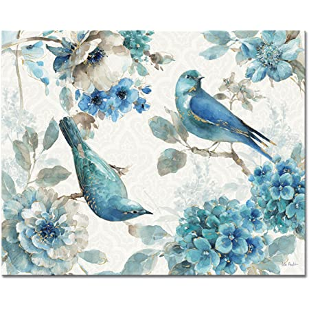 Amazon Com Counterart Indigold Birds And Flowers Tempered Glass Counter Saver Cutting Board 15 Inch By 12 Inch Made In The Usa Kitchen Dining