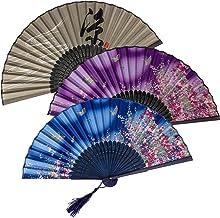 KIMI-HOSI 4 Pezzi Ventaglio in Stile Cinese Ventagli Pieghevoli da donna Ventaglio Pieghevole di Bambù in stile Cinese per...