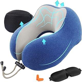 comprar comparacion AGAKY Almohada de Viaje Almohada Cuello Espuma Memoria Sueño Suave-Tela Terapia magnética - Funda Terciopelo extraíble y L...