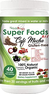 NR911 Super Foods 911 Café Mocha - Noni, Mangosteen, Goji, Acai, and Much More Blended with numerous Organic Fruits and Ve...