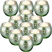 MICROSUN Round Gold Votive Candle Holders, Mercury Glass Tealight Candle Holder Set of 12 for Home Decor (Green)