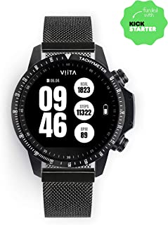 VIITA Active HRV Tachymeter Black, Smartwatch Made of Exquisite Materials, up to 2 Weeks Battery Life, Equipped with GPS, Heart Rate Monitoring, Water Resistant up to 330ft/100m