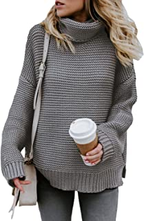 Asvivid Womens Turtleneck Long Sleeve Chunky Knit Pullover Sweater