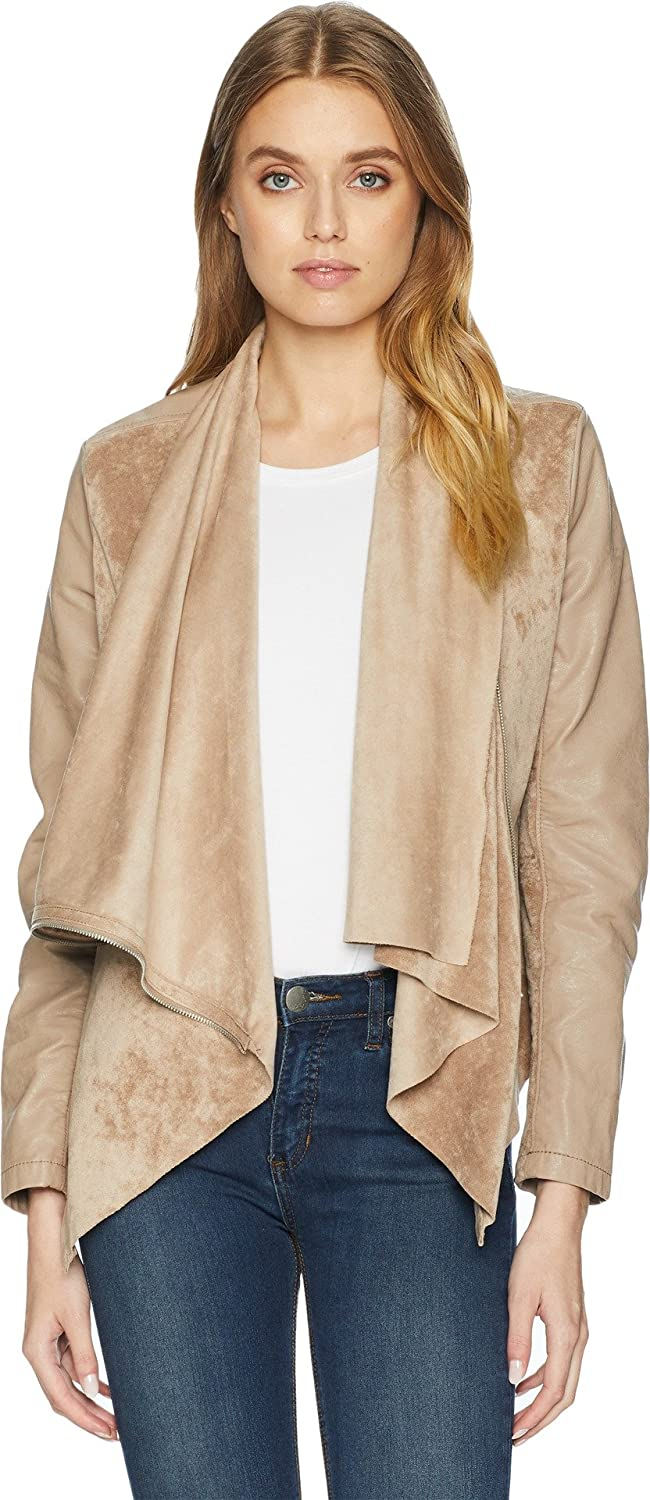 [BLANKNYC]]] Blank NYC Womens Faux Suede Drape Front Jacket in Hump Day