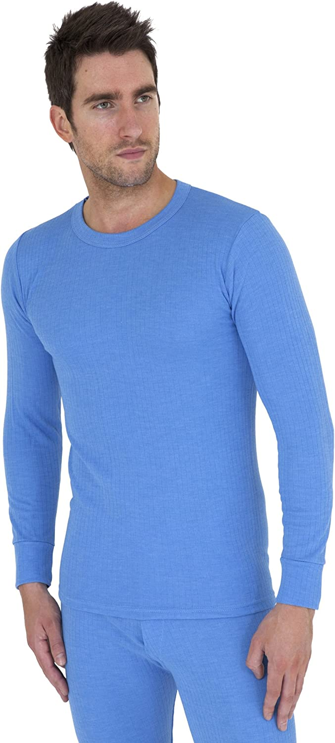 Mens Thermal Underwear Long Sleeve T Shirt Top (British Made) (Chest: 32-34inch (Small)) (Blue)