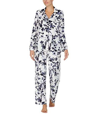 Donna Karan Stretch Velour Sleepwear Pajama Set (Cream Floral) Women