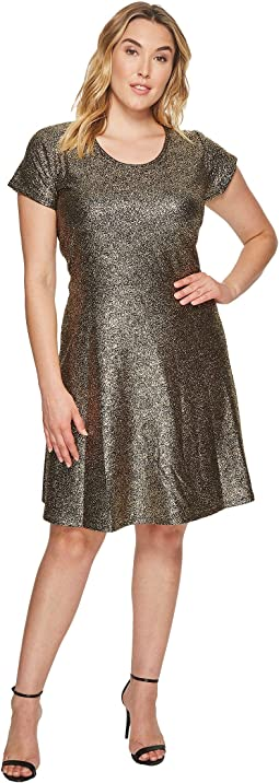 MICHAEL Michael Kors - Plus Size Foil Cap Sleeve Dress