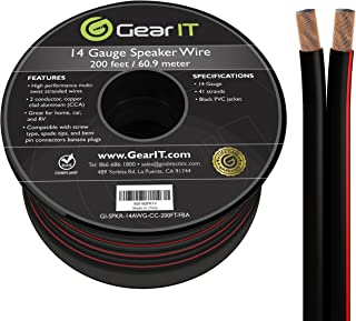 GearIT Pro Series 14 Gauge 2 x 2.5mm 60 Meters Speaker Wire Cable - CCA Hifi Speaker Cable, Black