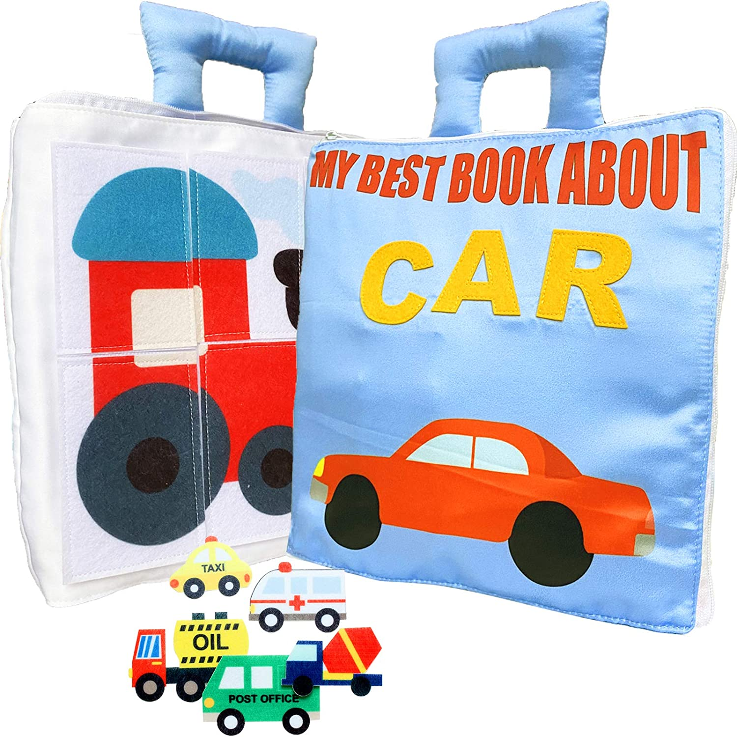 MOVEBO Fabric Busy Book Travel Toy. Educational Activity Toy for Toddlers, Preschool and Pre-K Early Learning My car Book (My Best Book About car)