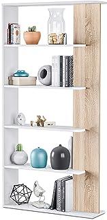 Habitdesign 0F2252A - Estantería 5 baldas Librería Comedor Salon Color Blanco Artik y Roble Canadian Modelo Alida Medi...