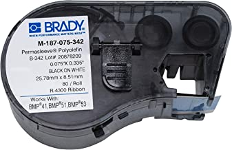 Brady PermaSleeve Heat-Shrink Polyolefin Wire Marking Sleeves (M-187-075-342) - Black On White Sleeves - Compatible with BMP41, BMP51, and BMP53 Label Makers - .335