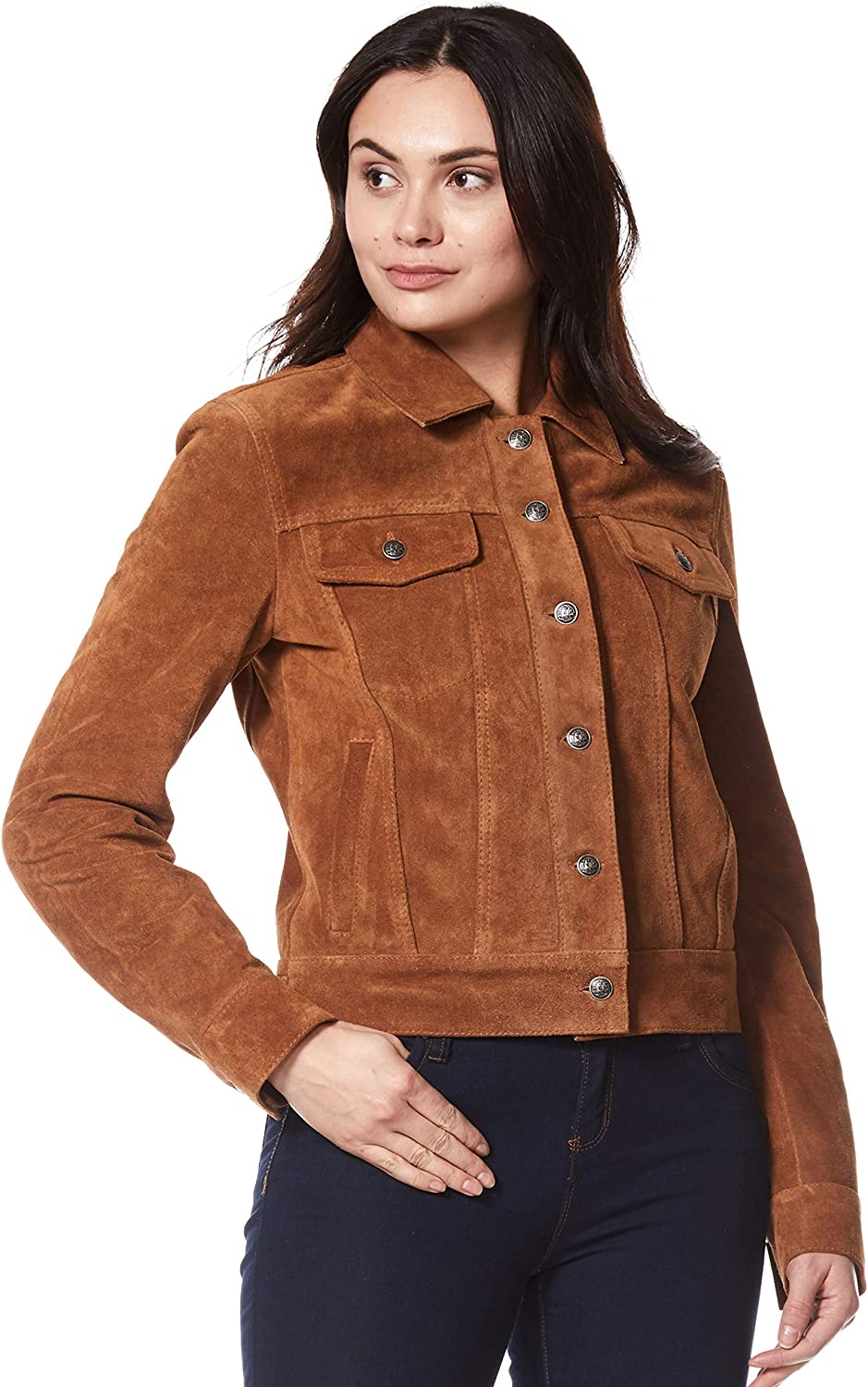 Carrie CH Hoxton Women Trucker Real Leather Jacket Tan Suede Casual Fashion Shirt Jacket 1680