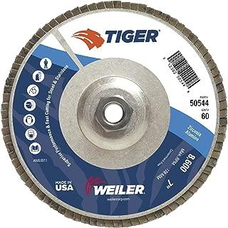 Weiler Tiger Abrasive Flap Disc, Type 29, Threaded Hole, Aluminum Backing, Zirconia Alumina, 7