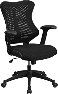 Flash Furniture High Back Designer Black Mesh Executive Swivel Chair with Adjustable Arms - BL-ZP-806-BK-GG