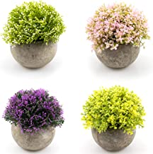 Foraineam 4-Pack Flower Topiary Shrubs Fake Plants Artificial Mini Plants with Gray Pots for Bathroom, House, Office Décor